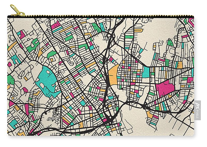 Bridgeport Carry-all Pouch featuring the drawing Bridgeport, United States City Map by Inspirowl Design