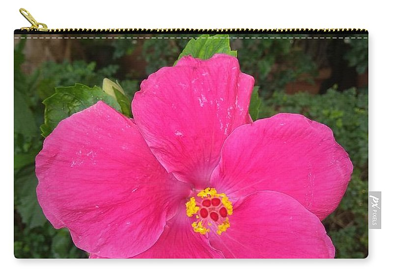 Carry-all Pouch featuring the photograph Bright Pink Hibiscus by Nimu Bajaj and Seema Devjani