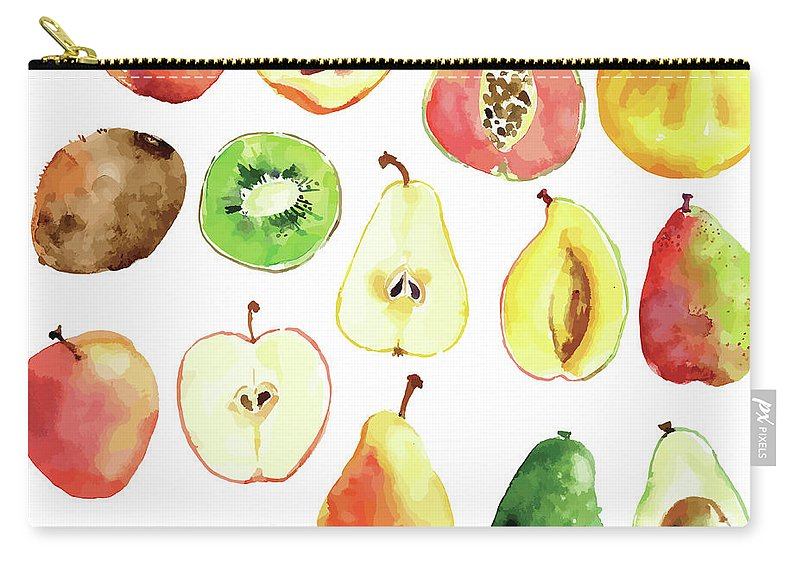 Art Carry-all Pouch featuring the digital art Bright Vector Watercolor Hand Drawn by Dinkoobraz