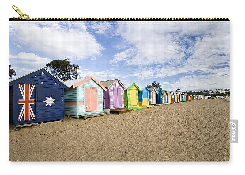 Steps Carry-all Pouch featuring the photograph Brighton Beach Huts by Samvaltenbergs