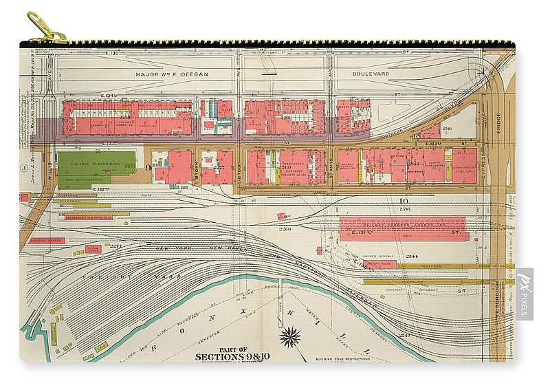 Map Carry-all Pouch featuring the drawing Bronx Plate 2 by Vintage Pix