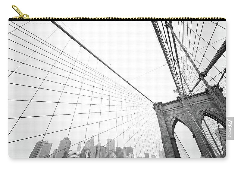 Wire Carry-all Pouch featuring the photograph Brooklyn Bridge Cityscape by Digi guru