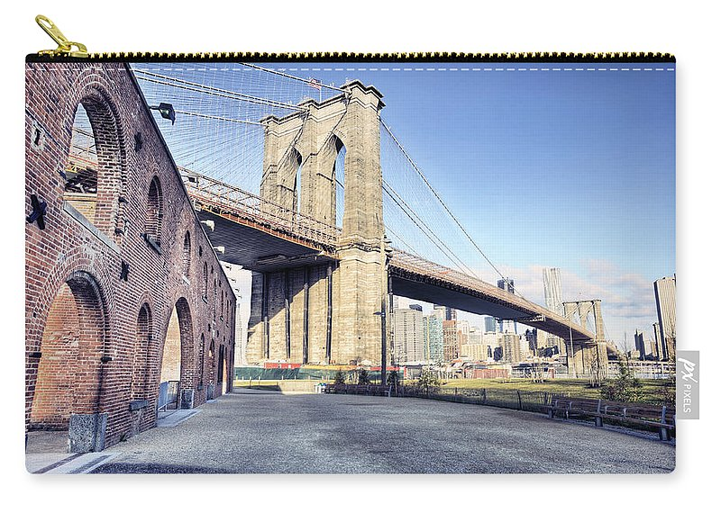Lower Manhattan Carry-all Pouch featuring the photograph Brooklyn Bridge From Down Under by By Gene Krasko