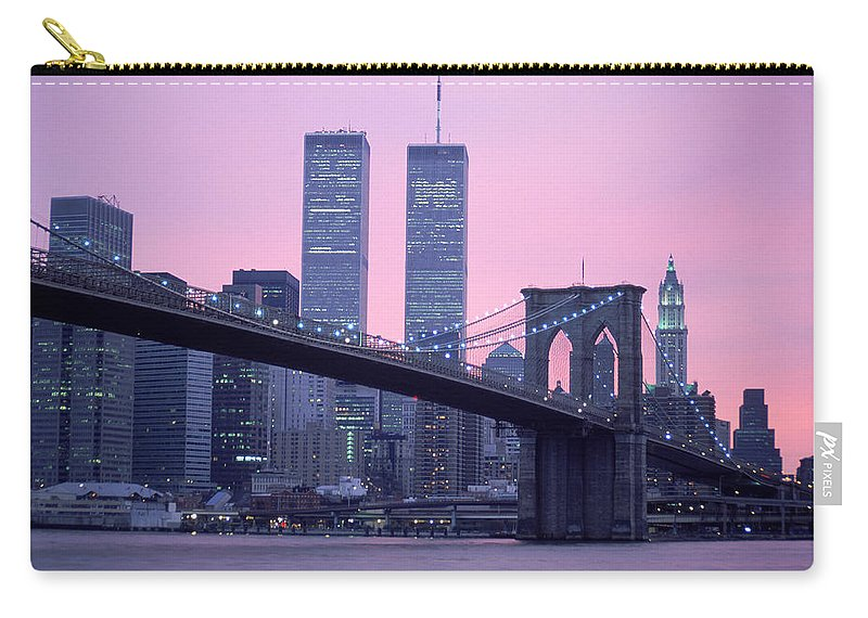 Dawn Carry-all Pouch featuring the photograph Brooklyn Bridge, Twin Towers, Nyc, Ny by Barry Winiker