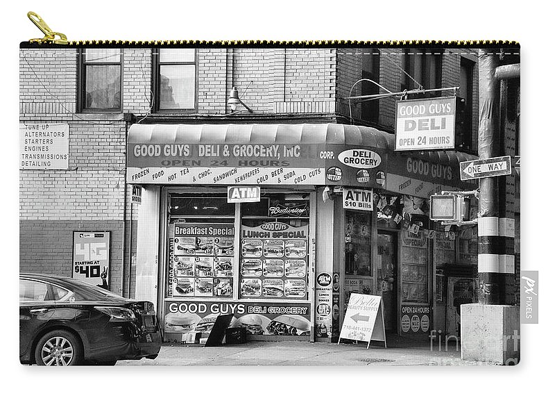 Ny Carry-all Pouch featuring the photograph Brooklyn Deli Black White by Chuck Kuhn