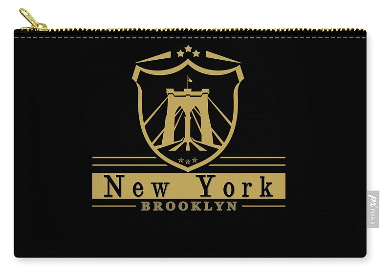 New York Carry-all Pouch featuring the digital art Brooklyn New York Bridge Pride Icon by Dan O'Donnell