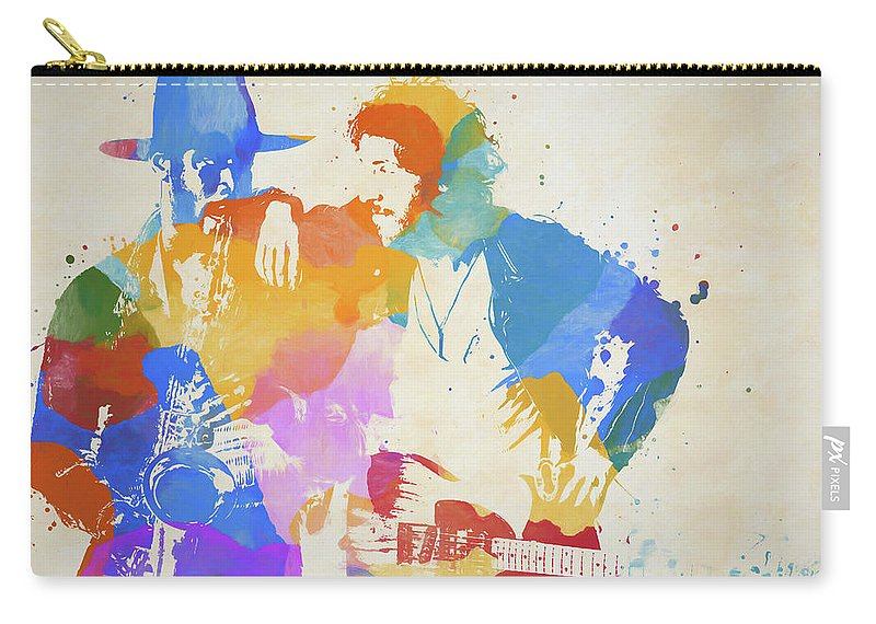 Bruce And The Big Man Carry-all Pouch featuring the painting Bruce And The Big Man Watercolor Splatter by Dan Sproul