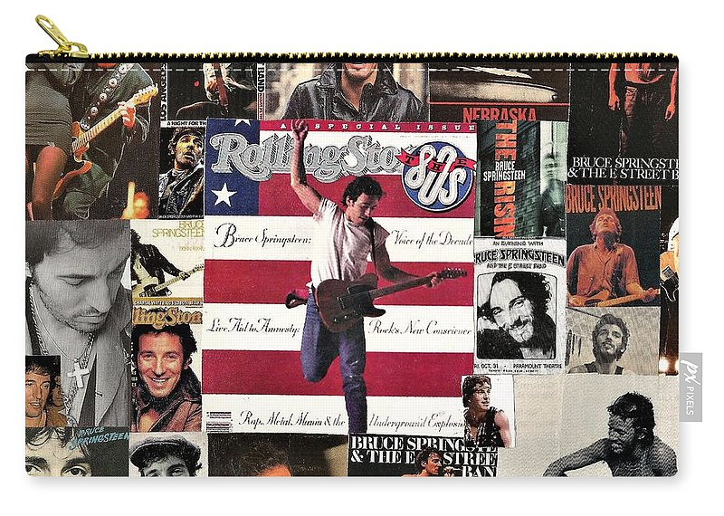 Collage Carry-all Pouch featuring the digital art Bruce Springsteen Collage 1 by Doug Siegel