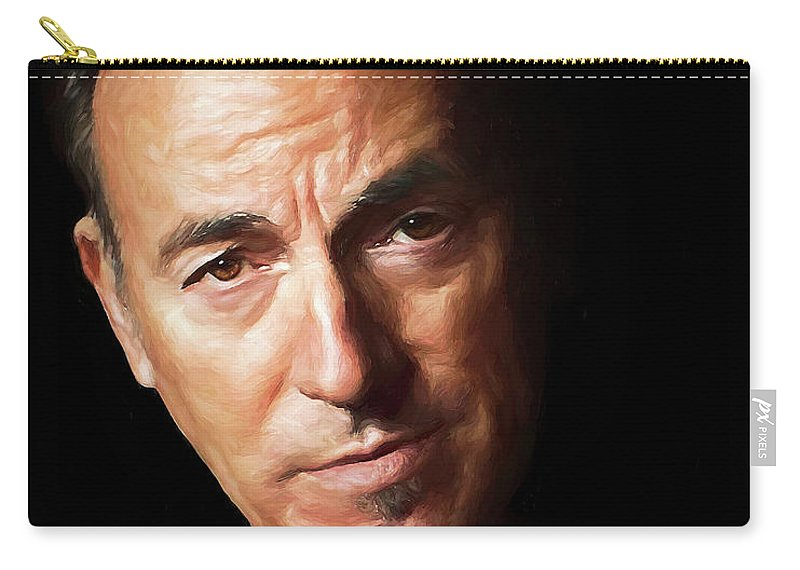 Musician Carry-all Pouch featuring the digital art Bruce Springsteen by Rick Wiles