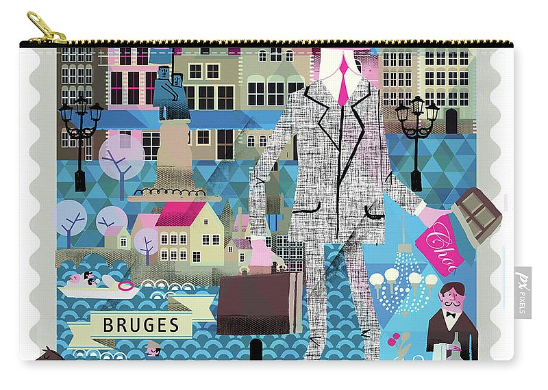 Belgium Carry-all Pouch featuring the digital art Bruges by Luciano Lozano