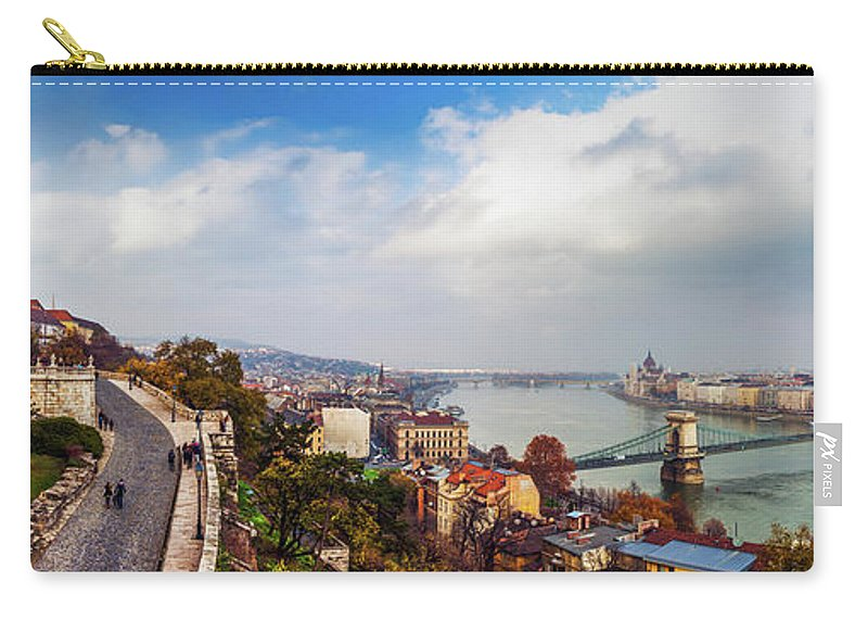 Hungarian Parliament Building Carry-all Pouch featuring the photograph Budapest - Sweeping View by John And Tina Reid