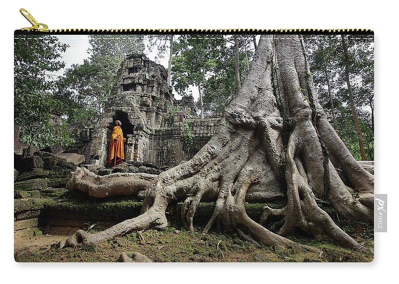 Orange Color Carry-all Pouch featuring the photograph Buddhist Monk At Angkor Wat Temple by Timothy Allen