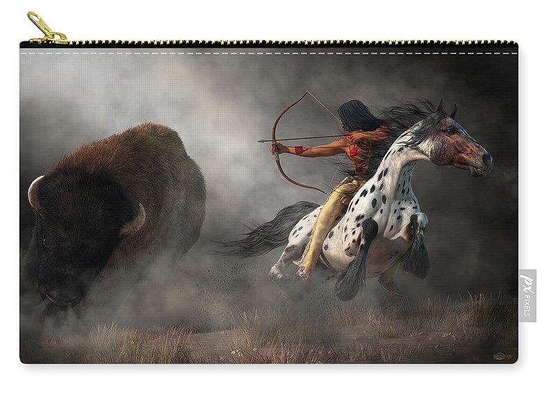 Buffalo Hunt Carry-all Pouch featuring the digital art Buffalo Hunt by Daniel Eskridge