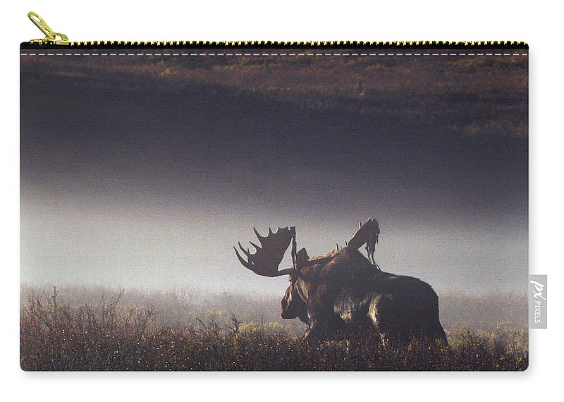 Majestic Carry-all Pouch featuring the photograph Bull Moose Alces Alces Walking Through by Johnny Johnson