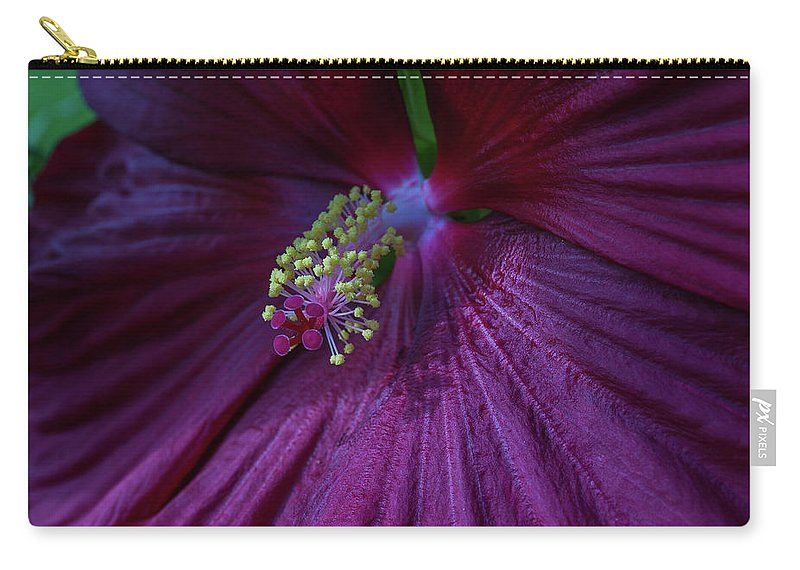 Hibiscus Carry-all Pouch featuring the photograph Burgundy Hibiscus by Linda Howes