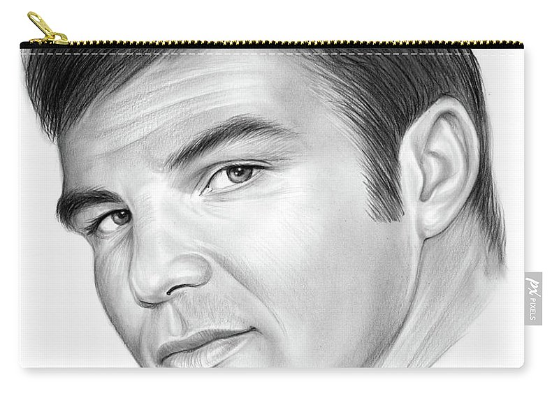 Burt Reynolds Carry-all Pouch featuring the drawing Burt by Greg Joens