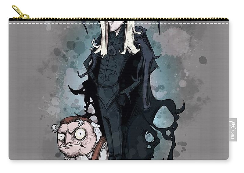Burton Labyrinth Carry-all Pouch featuring the drawing Burton Labyrinth by Ludwig Van Bacon