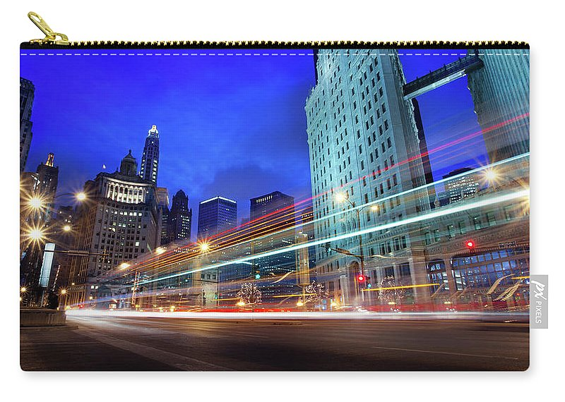 Chicago River Carry-all Pouch featuring the photograph Bus Trails At Blue Hour by Chris Smith Www.outofchicago.com