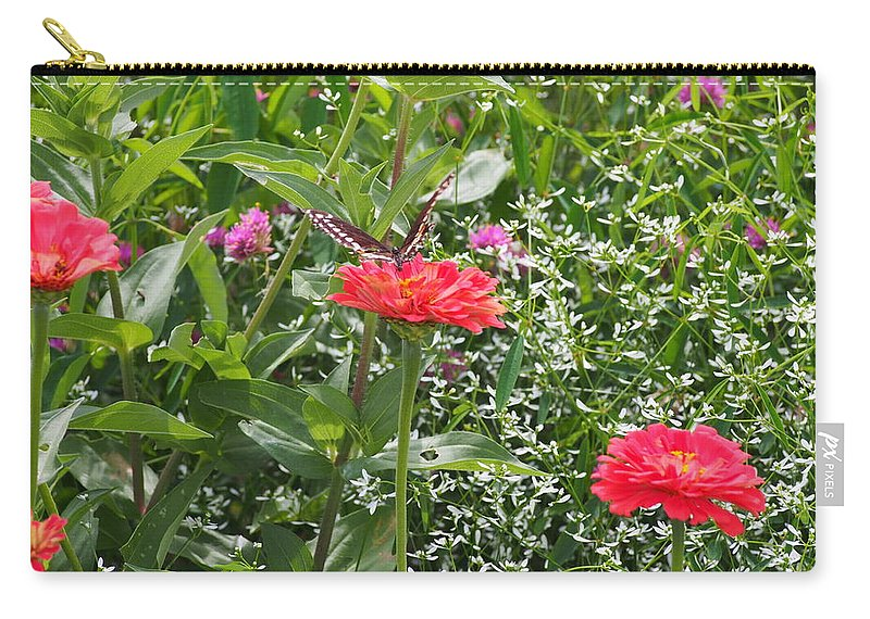 Butterfly Flower Red Green Wings Carry-all Pouch featuring the photograph Butterfly Before Flight by Thomas Wojnar