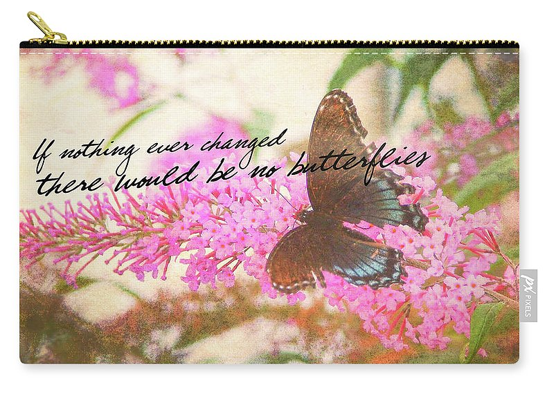 Butterfly Carry-all Pouch featuring the photograph Butterfly Kisses Quote by JAMART Photography