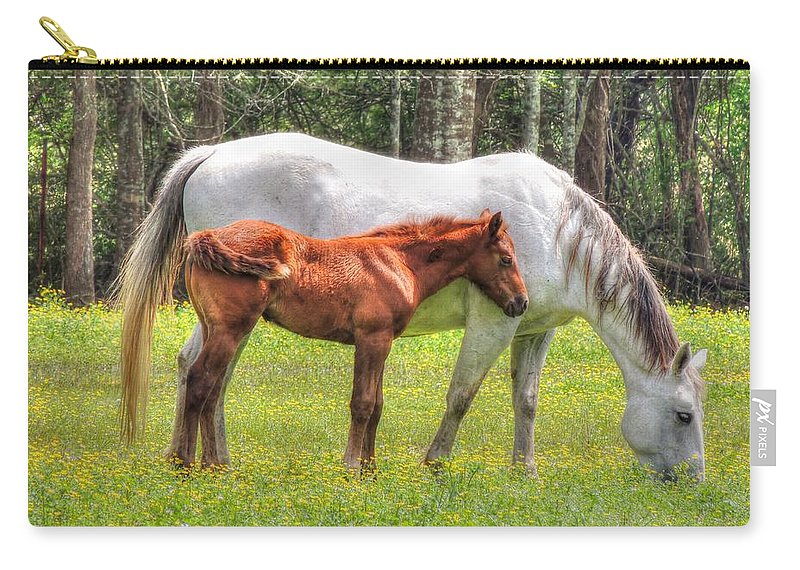 Horse Carry-all Pouch featuring the photograph By Mom's Side by Charlotte Schafer