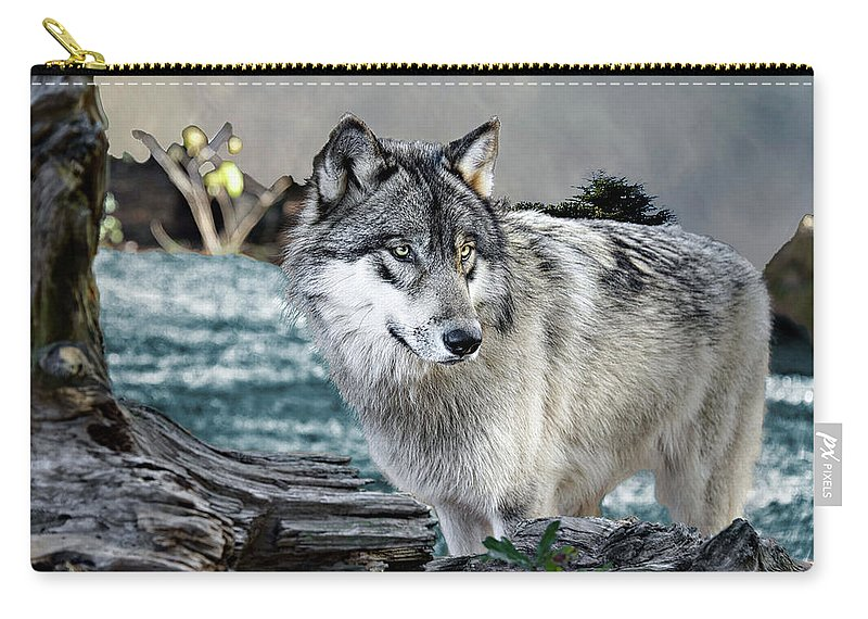 Wolf Carry-all Pouch featuring the photograph By The River by Jeannee Gannuch