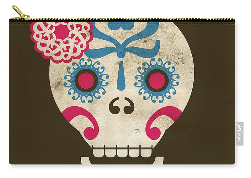 Animal Skull Carry-all Pouch featuring the digital art Calaca by Marco Recuero