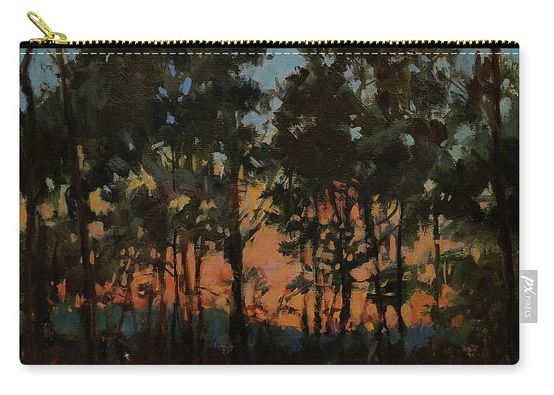 New England Carry-all Pouch featuring the painting Campground At Dusk by Peter Salwen