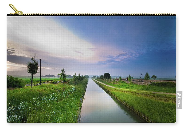Scenics Carry-all Pouch featuring the photograph Canal De Lourcq - Precy Sur Marne - by © Nicolas Gaire