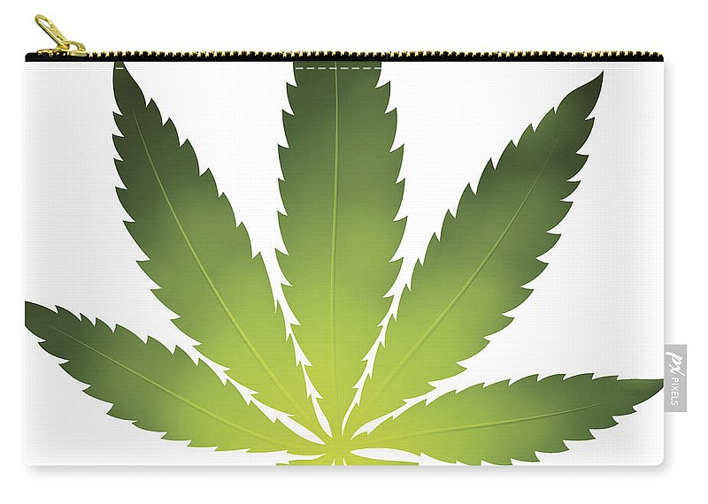 White Background Carry-all Pouch featuring the digital art Cannabis Leaf by Filo