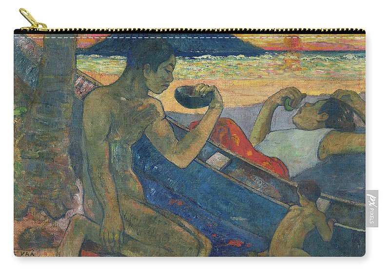 Paul Gauguin Carry-all Pouch featuring the painting Canoe, Tahitian Family, 1896 by Paul Gauguin