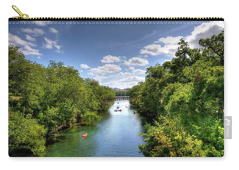 Recreational Pursuit Carry-all Pouch featuring the photograph Canoes On Town Lake In Downtown Austin by Metschan