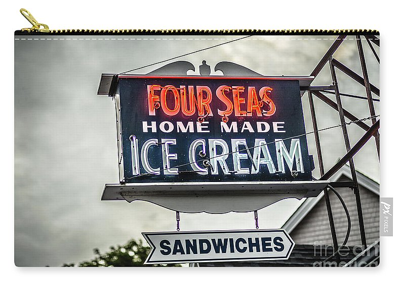 Cape Cod Carry-all Pouch featuring the photograph Cape Cod Four Seas Home Made Ice Cream Neon Sign by Edward Fielding
