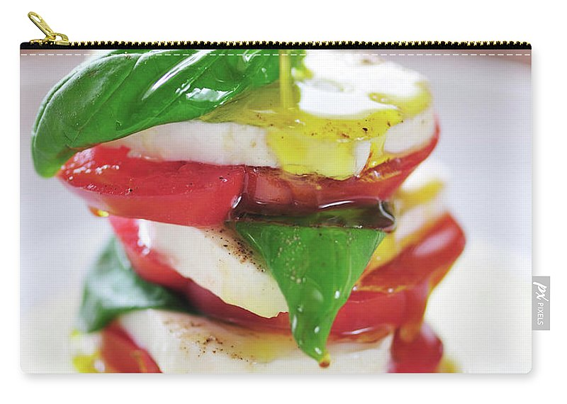Caprese Salad Carry-all Pouch featuring the photograph Caprese by Tanya f