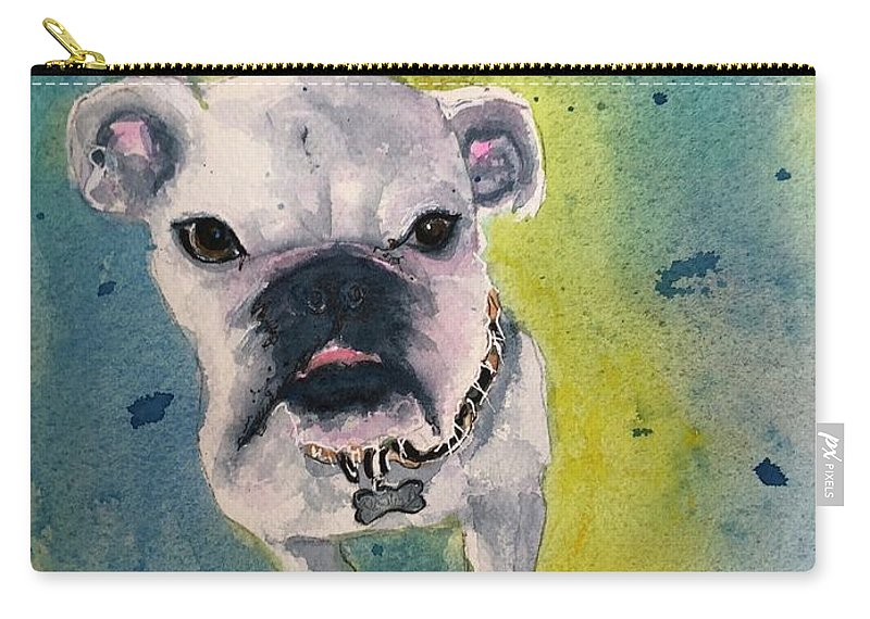 English Bulldog Carry-all Pouch featuring the painting Captain by Midge Pippel