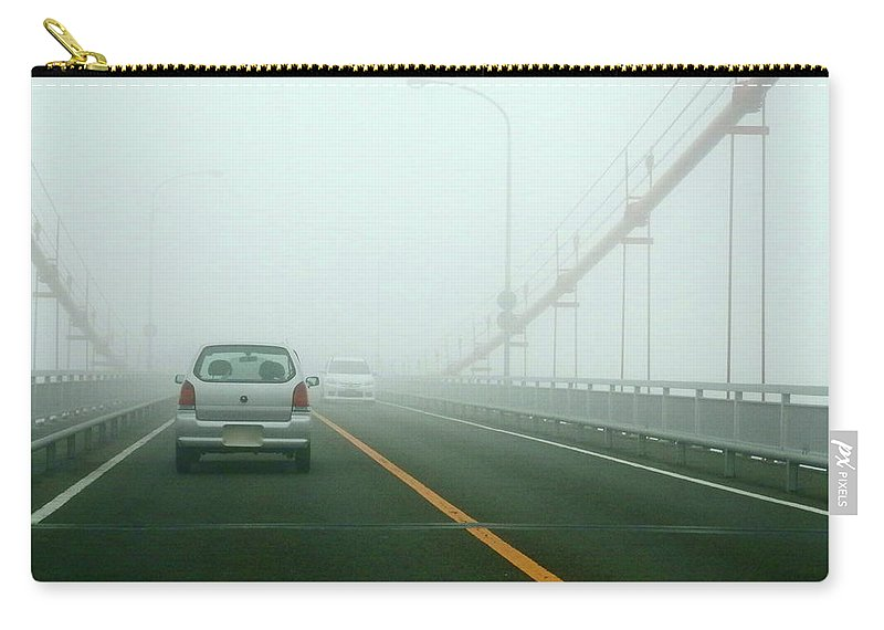 Dawn Carry-all Pouch featuring the photograph Car Crossing Bridge by Kurosaki San