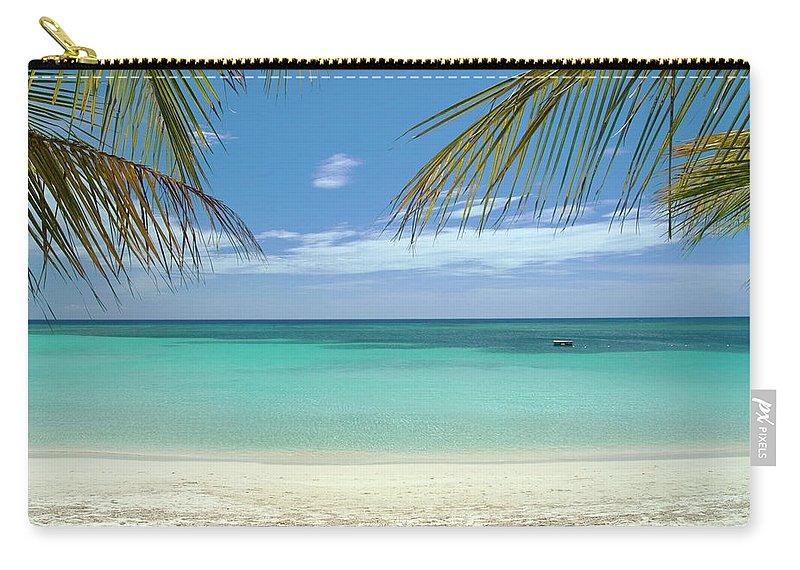 Cool Attitude Carry-all Pouch featuring the photograph Caribbean Sea And White Sand Beach by Digi guru