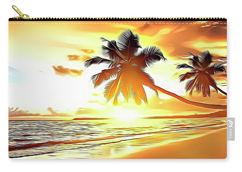 Ocean Carry-all Pouch featuring the digital art Caribbean Sunset by Russ Carts