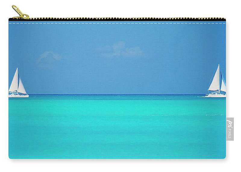 Sailboat Carry-all Pouch featuring the photograph Caribbean, Turks And Caicos Islands by Medioimages/photodisc
