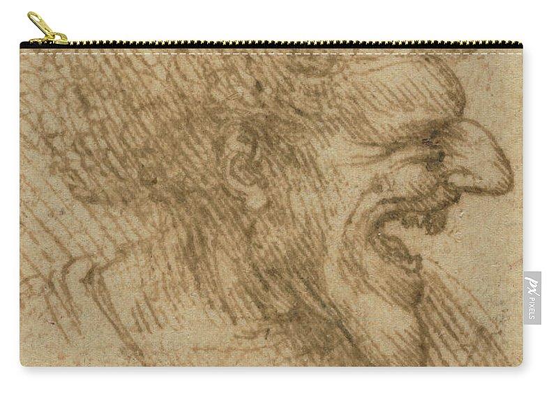 Leonardo Da Vinci Carry-all Pouch featuring the drawing Caricature Of A Man With Bushy Hair by Leonardo Da Vinci
