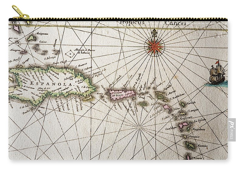 Engraving Carry-all Pouch featuring the digital art Carribean Islands by Goldhafen