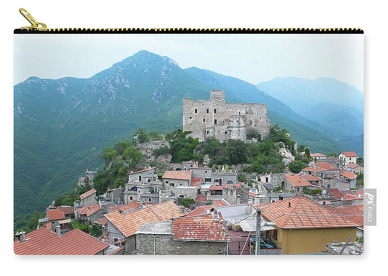 Tranquility Carry-all Pouch featuring the photograph Castelvecchio Di Rocca Barbena by Photo By Randi Larsen