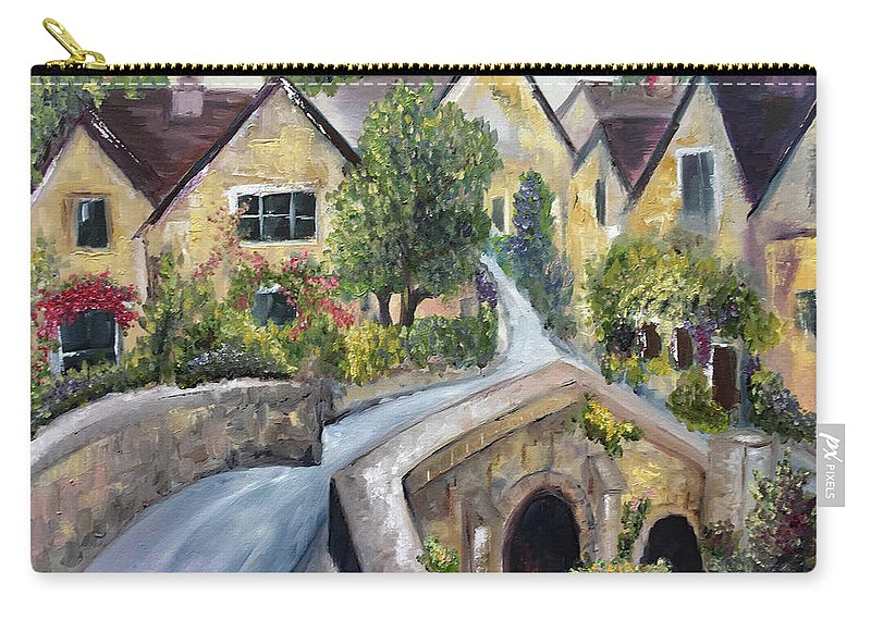 Landscape Carry-all Pouch featuring the painting Castle Combe by Roxy Rich
