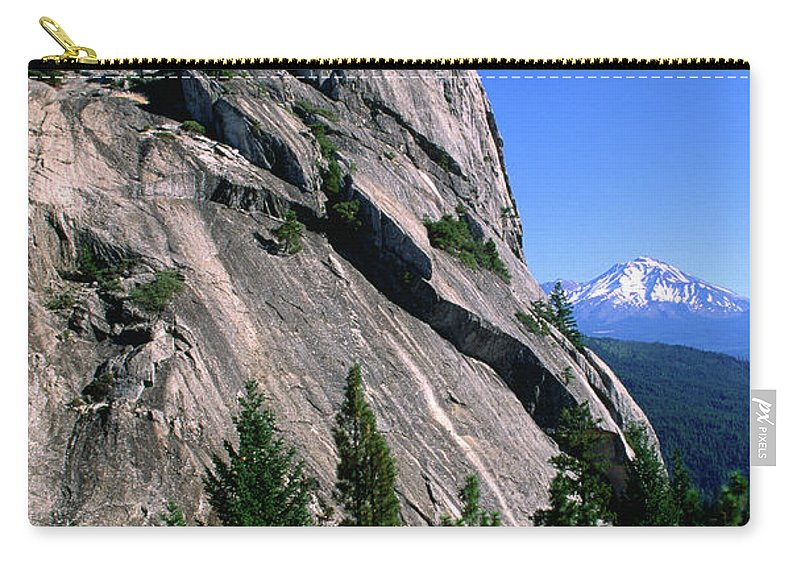 Toughness Carry-all Pouch featuring the photograph Castle Crags With Mt Shasta In by John Elk Iii