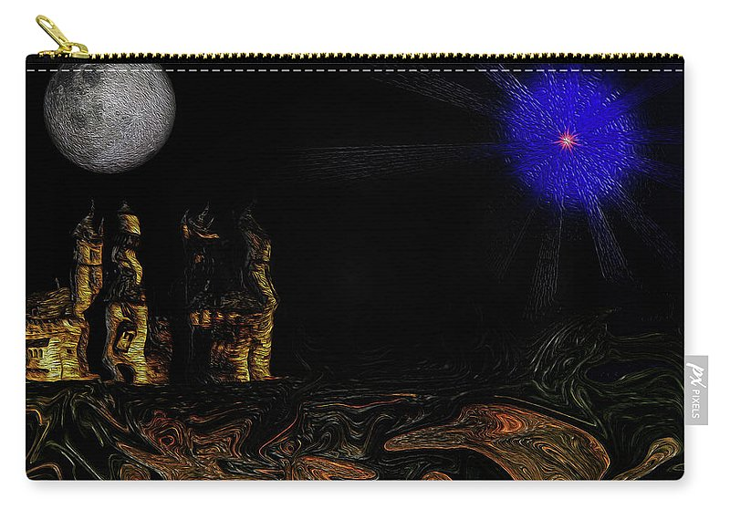 Castle Carry-all Pouch featuring the digital art Castle In The Night by Ramon Martinez