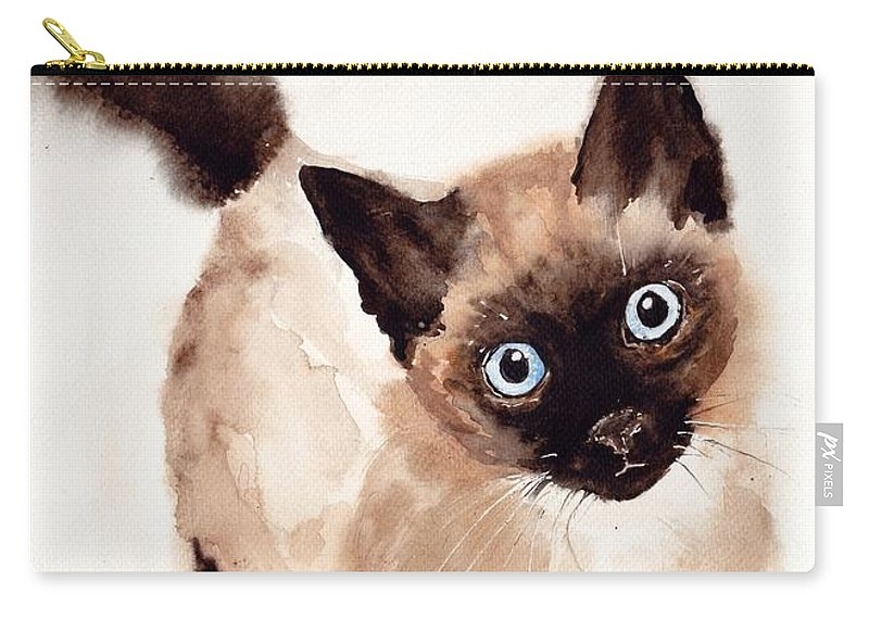 Bubbly Carry-all Pouch featuring the painting Cat Malcolm by Suzann Sines