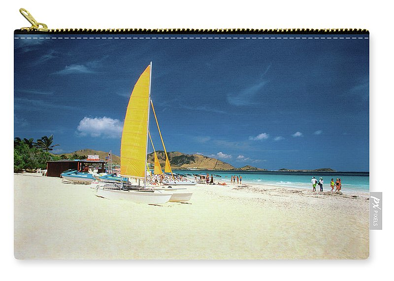 Orient Beach Carry-all Pouch featuring the photograph Catamarans And People On Martin Orient by Medioimages/photodisc