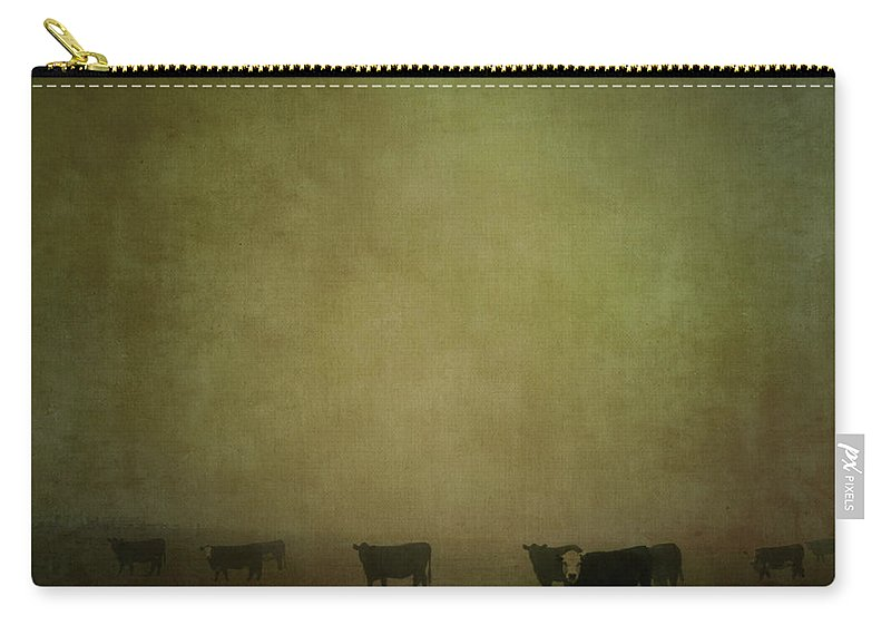Pets Carry-all Pouch featuring the photograph Cattle In The Mist by Jill Ferry
