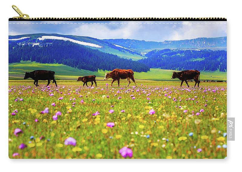 Tranquility Carry-all Pouch featuring the photograph Cattle Walking In Grassland by Feng Wei Photography