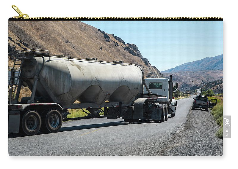 Cement Truck Turning Carry-all Pouch featuring the photograph Cement Truck Turning by Tom Cochran